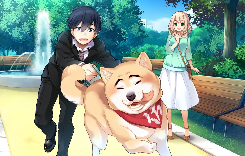 Фото обои девушка, собака, аниме, арт, парень