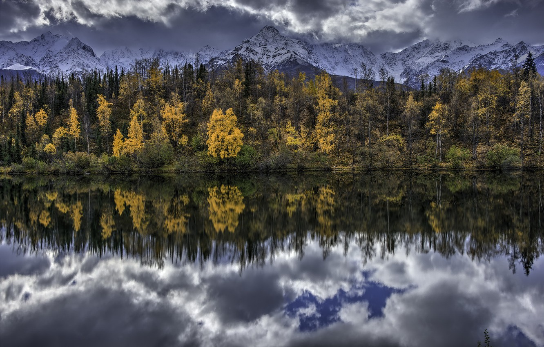 Фото обои Alaska, United States, Water Mirror, Chickaloon