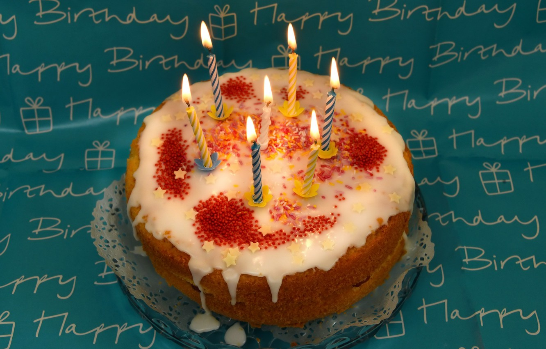 Фото обои свечи, торт, день рожденья
