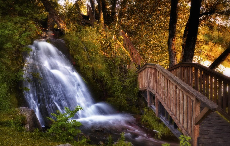 Обои водопад, осень, Пейзаж. Пейзажи foto 12