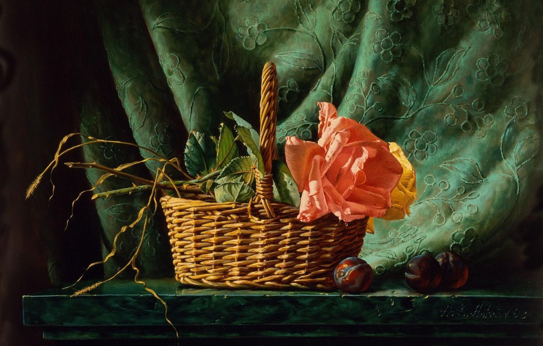 Фото обои роза, картина, натюрморт, живопись, корзинка, Алексей Антонов, сливы