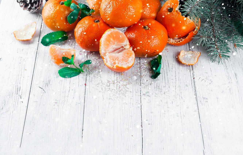 Фото обои украшения, Новый Год, Рождество, Christmas, wood, winter, snow, fruit, New Year, мандарины, decoration, tangerine, Merry, …