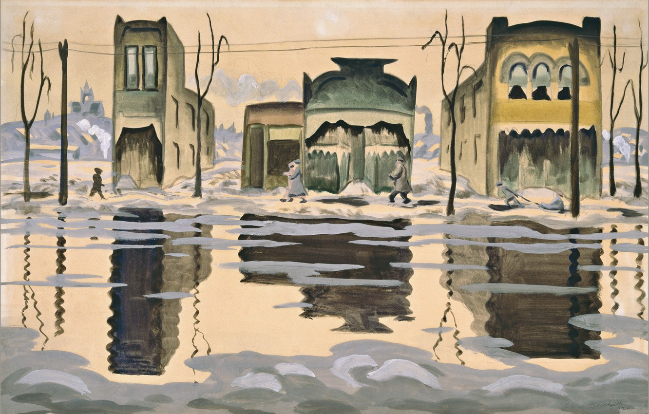 Фото обои 1920, Charles Ephraim Burchfield, February Thaw