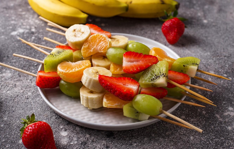 Фото обои ягоды, фрукты, цитрусы, шпажки