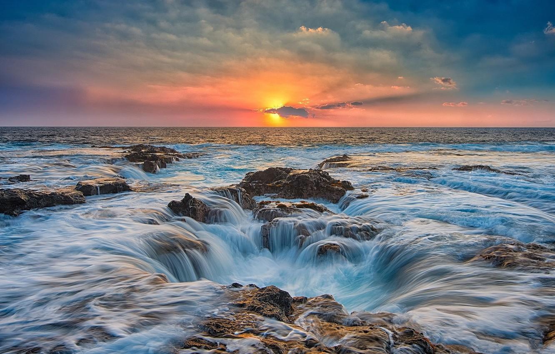 Фото обои море, небо, закат
