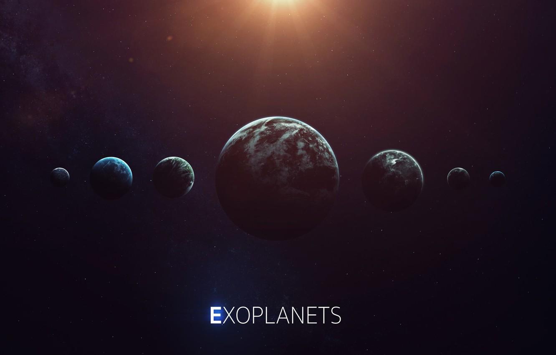 Фото обои Солнце, Планета, Космос, Звезда, Свет, Планеты, Light, Planets, Star, Арт, Space, Блик, Art, Planet, Universe, ...