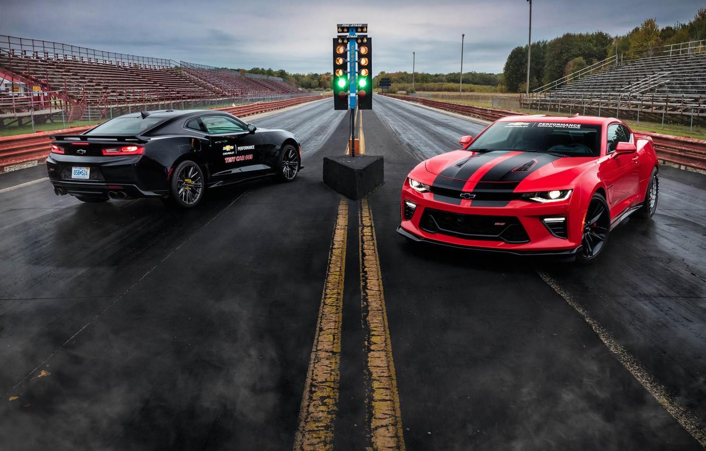 Фото обои Красный, Черный, Chevrolet, Машины, Camaro, Диски, ZL1, Drag Racing