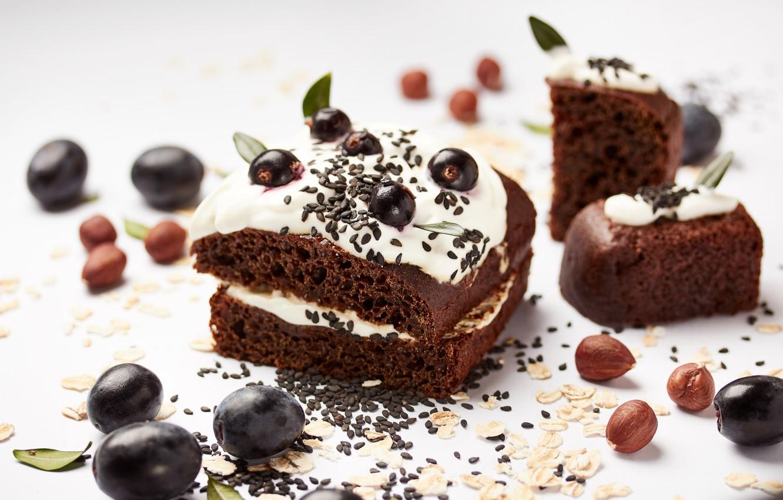 Обои пирожное, орехи, шоколад, крем. Еда foto 18