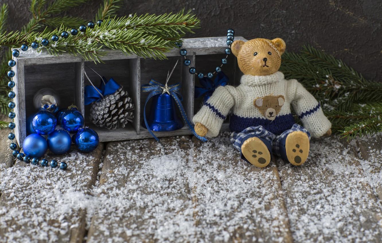 Фото обои украшения, шары, Новый Год, Рождество, Christmas, balls, snow, merry, teddy bear, decoration, New year, fir …