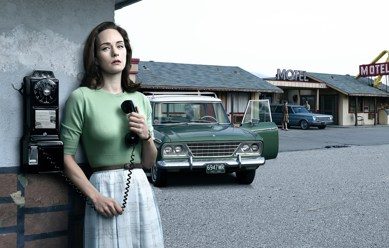 Фото обои авто, девушка, ретро, 1965, история, California, Studebaker, Motel, Stories