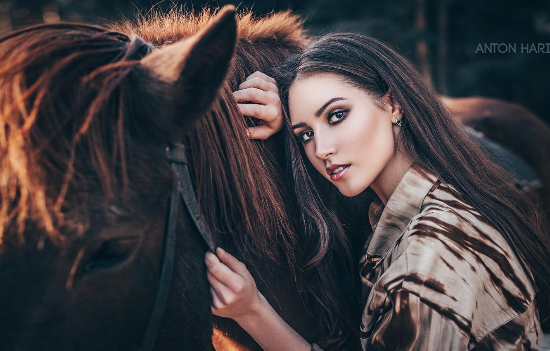 Фото обои взгляд, девушка, лицо, конь, лошадь, Мария, Антон Харисов