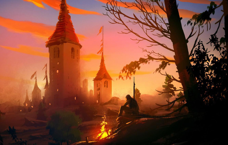 Фото обои fire, fantasy, trees, landscape, nature, man, painting, Castle, digital art, artwork, concept art, fantasy art, …