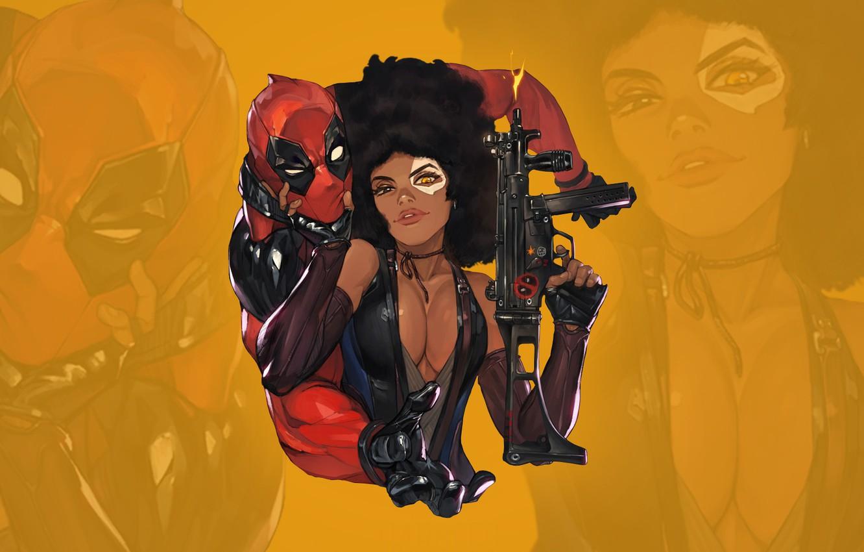 Фото обои грудь, глаза, взгляд, gun, пушка, красотка, стикер, boobs, eyes, Deadpool, Marvel, Дэдпул, костюмы, look, babe, …