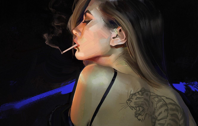 Фото обои девушка, спина, тату, арт, сигарета, профиль, черный фон, art