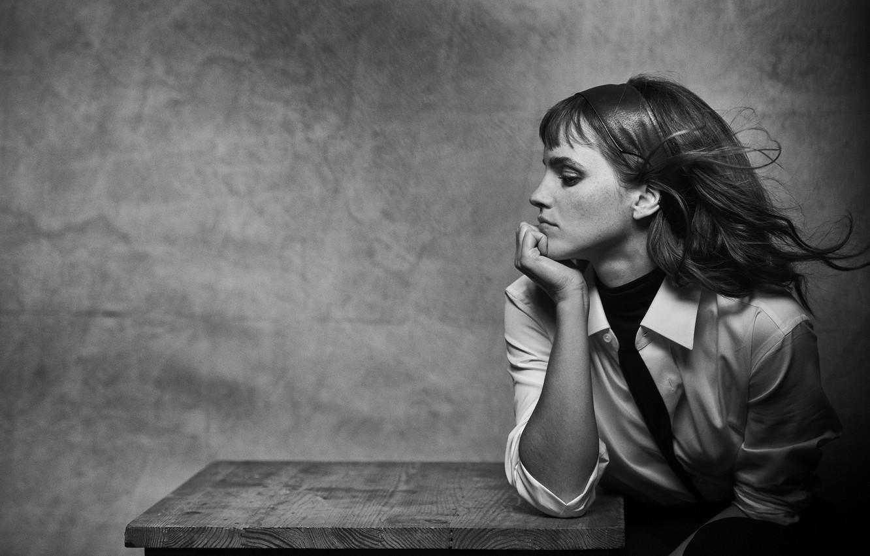 Фото обои девушка, задумчивость, актриса, профиль, girl, Эмма Уотсон, Emma Watson, actress, задумчивая девушка
