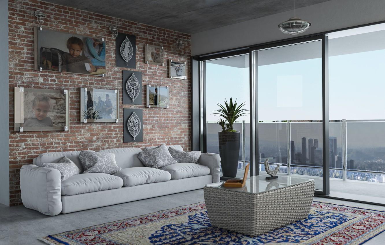 Фото обои комната, диван, интерьер, ковёр, подушки, окно, картины, столик, гостиная
