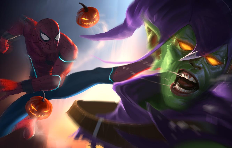 Фото обои Art, Marvel, Comics, Peter Parker, Spider Man, Green Goblin, Fight, Norman Osborn