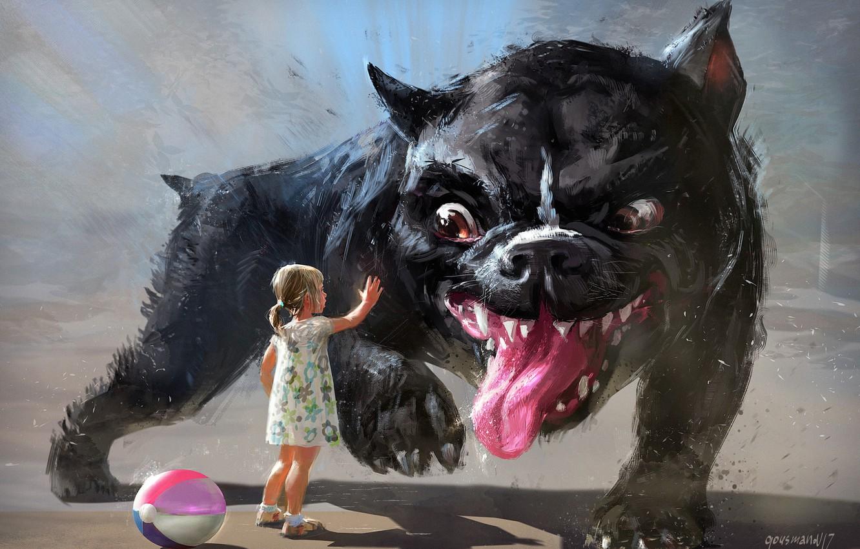 Фото обои лето, фантазия, игра, арт, дружба, девочка, доверие, пёс, детская, Vadim Gousmanov, ball game
