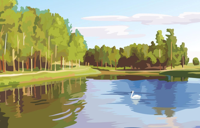 Фото обои лес, озеро, вектор, лебедь, цифровая живопись