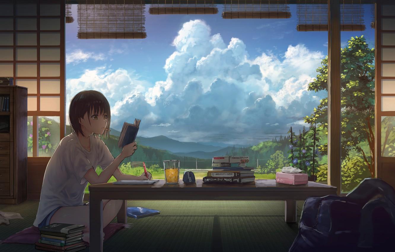 Фото обои облака, стол, комната, книги, девочка