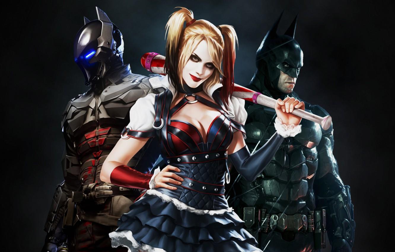 Фото обои Игра, Блондинка, Бэтмен, Костюм, Герой, Супергерой, Hero, Batman, Злодей, Харли Квинн, Blonde, Game, Брюс Уэйн, …