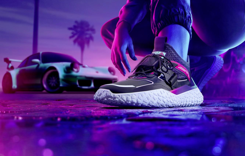 Фото обои кроссовки, PUMA, Need for Speed Heat, эксклюзивные кроссовки, Motorsport-Indebted Hi OCTN Sneaker, exclusive sneakers