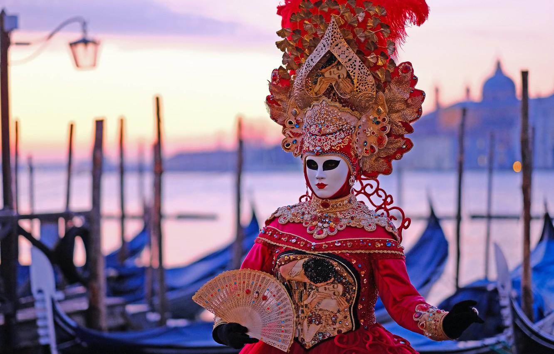 Фото обои стиль, маска, веер, Италия, костюм, Венеция, карнавал