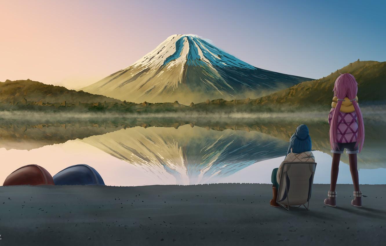 Фото обои пейзаж, природа, гора, кемпинг, девчачий кемпинг, Laid-Back Camp