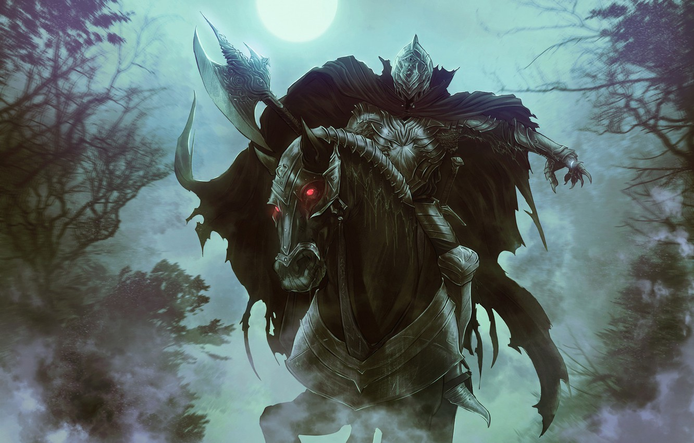 Фото обои Лошадь, Ночь, Рисунок, Луна, Лес, Конь, Властелин Колец, Арт, Art, Призрак, The Lord of the …