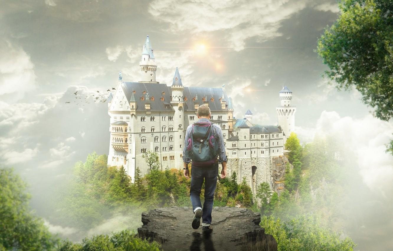 Фото обои небо, деревья, птицы, туман, замок, фантазия, обрыв, сон, фэнтези, мужчина, путешествие, рюкзак, путник, странник, идет, …