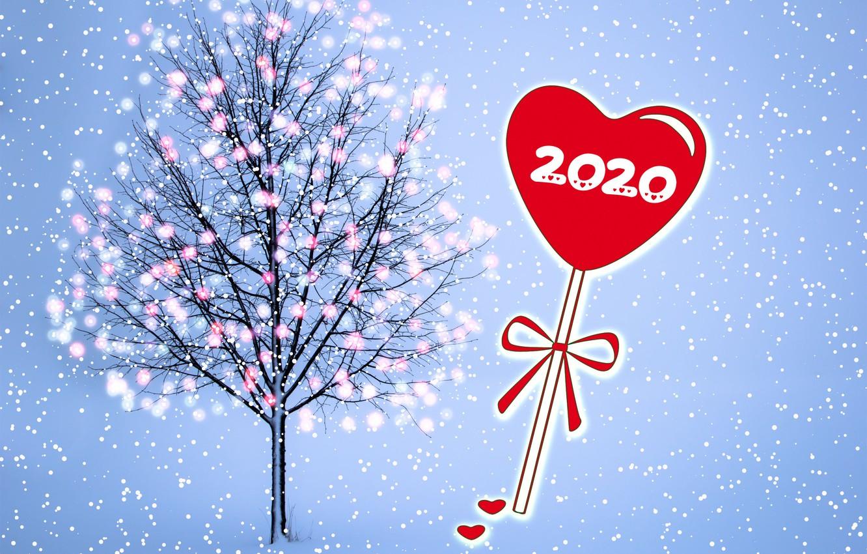 Фото обои снег, дерево, Новый год, гирлянда, сердечко, 2020