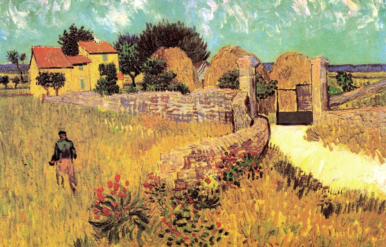 Фото обои цветы, дом, ворота, мужчина, Винсент ван Гог, Farmhouse, in Provence