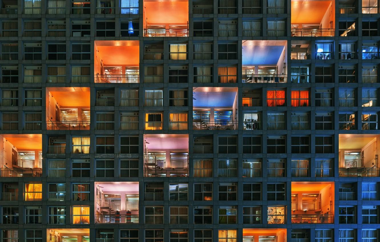 Фото обои свет, город, дом, краски, окна