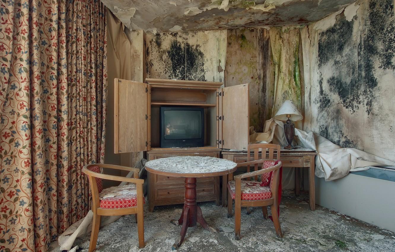 Фото обои комната, стулья, телевизор
