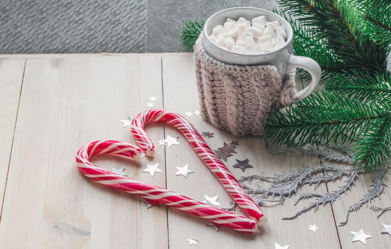 Фото обои украшения, Рождество, кружка, Новый год, new year, Christmas, wood, какао, decoration, mug, fir tree, hot …