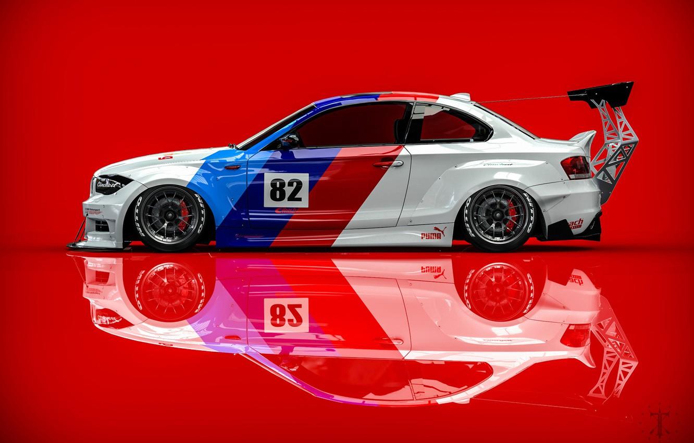 Фото обои Авто, BMW, Машина, вид сбоку, Рендеринг, Красный фон, BMW 1 Series, Transport & Vehicles, Clinched, ...