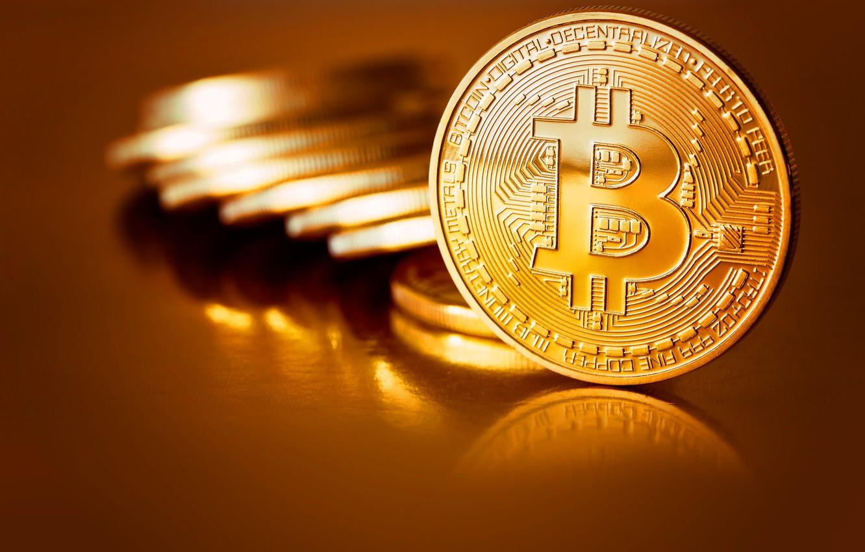 Фото обои размытие, монеты, gold, coins, bitcoin, биткоин, btc