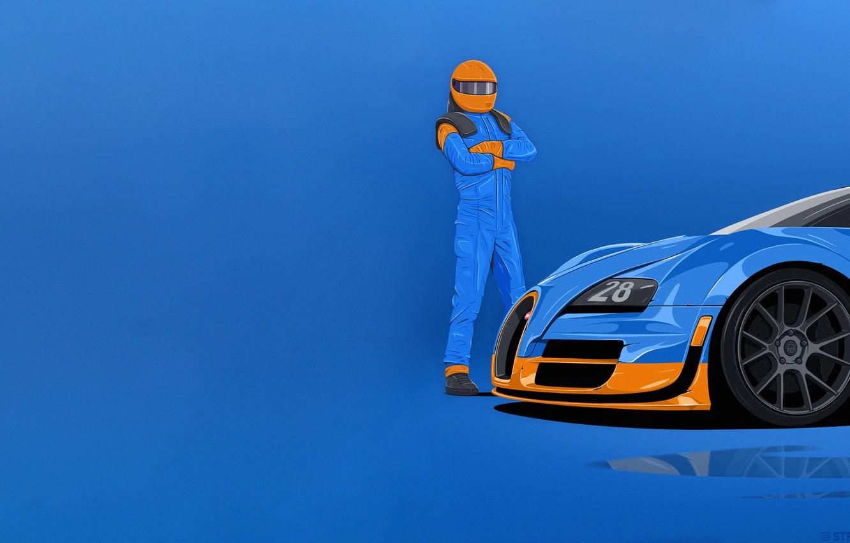 Фото обои Минимализм, Человек, Машина, Гонщик, Bugatti Veyron, Арт, Art, Minimalism, Спорткар, Man, Экипировка, Racer, Equipment, Sports …