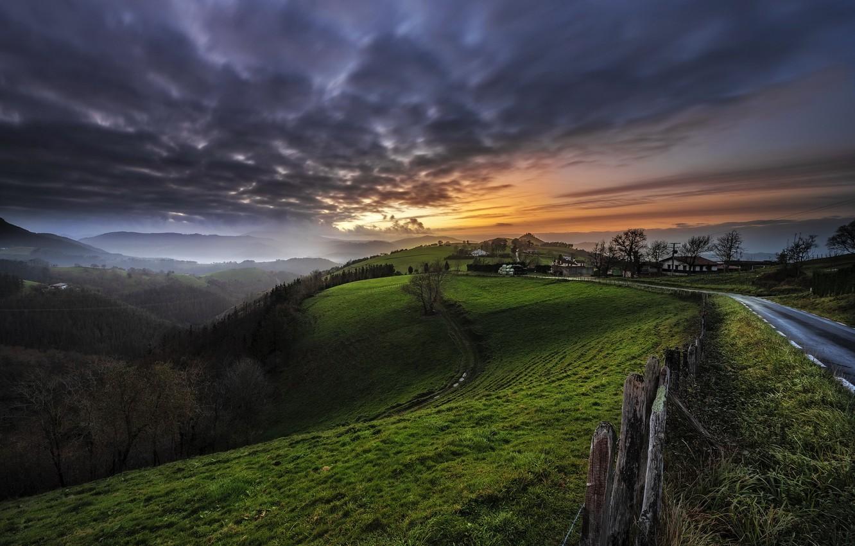 Фото обои дорога, закат, холмы