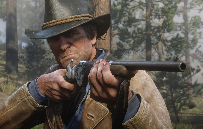Фото обои шляпа, охота, оружия, Rockstar, Бандит, Red Dead Redemption 2, Arthur Morgan