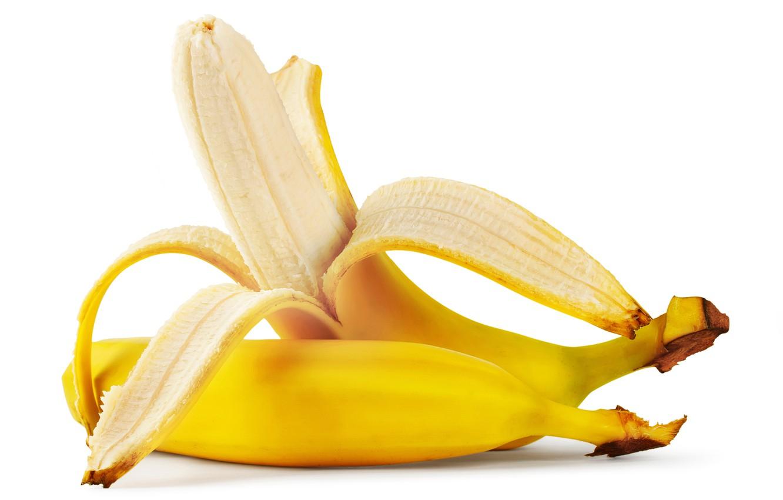 Фото обои бананы, белый фон, фрукты, жёлтые, кожура