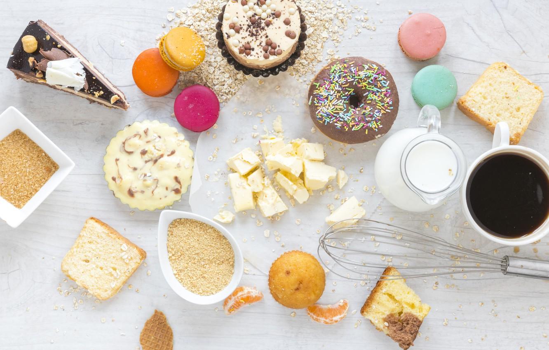 Фото обои кофе, завтрак, молоко, пончики, кексы