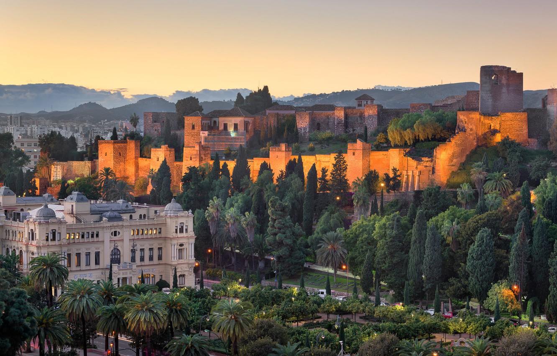 Фото обои деревья, город, пальмы, холмы, здания, вечер, крепость, Испания, улицы, Андалусия, Малага