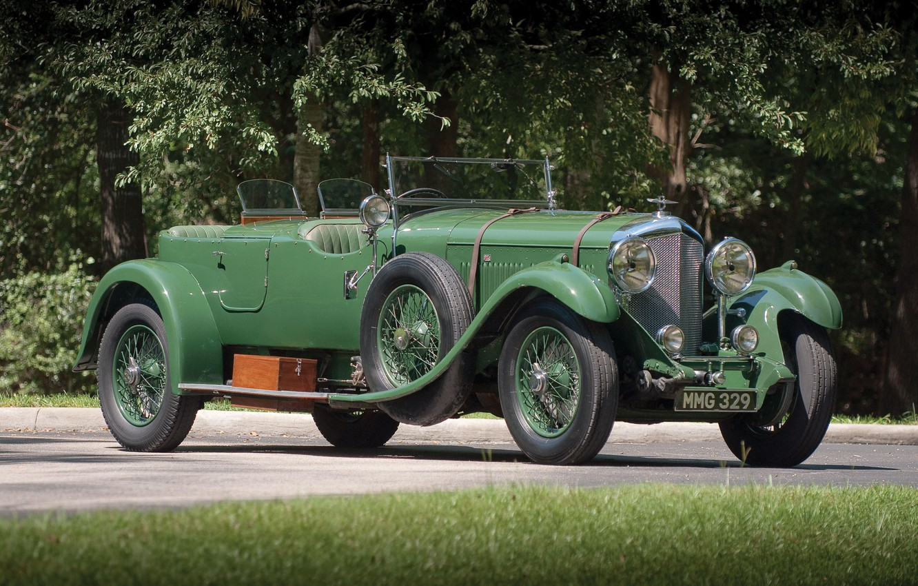 Фото обои Green, Retro, British Car, 1931 Bentley 4 14