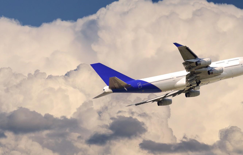 Фото обои Небо, Облака, Самолет, Лайнер, Полет, Авиалайнер, Boeing 747, Боинг 747, Пассажирский самолёт