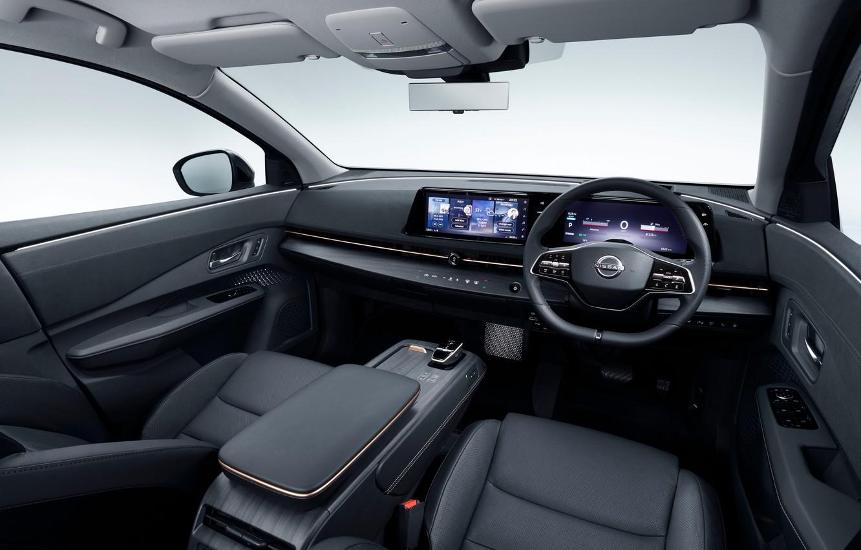 Фото обои руль, Nissan, салон, приборная панель, JP-spec, 2020, Ariya, e-4orce