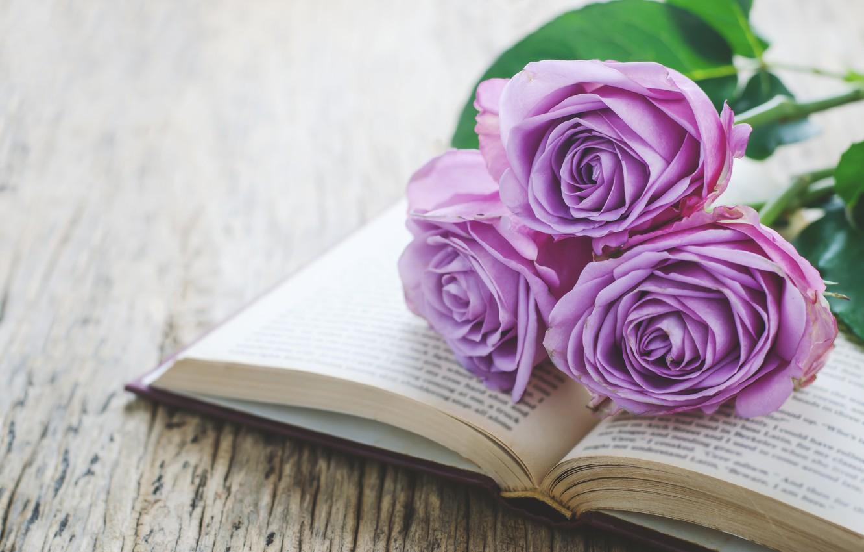 Фото обои розы, букет, книга, wood, flowers, romantic, purple, book, roses, violet