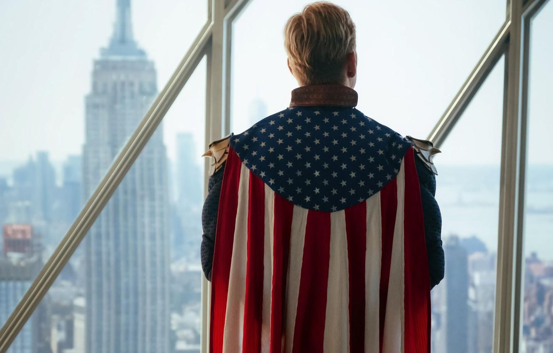 Фото обои USA, flag, superhero, serial, Amazon, The Boys, Homelander, Anthony Starr