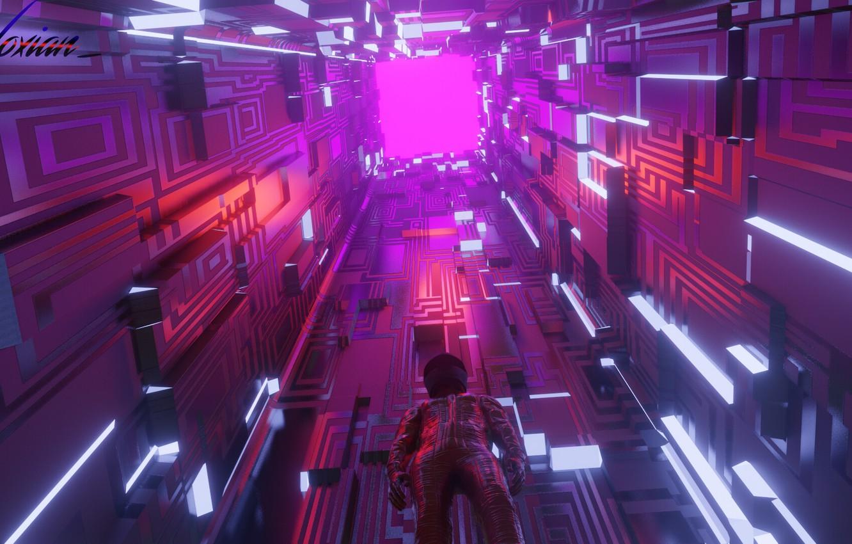 Фото обои свет, комната, вверх, высота, арт, костюм, грани, куб, геометрия, киберпанк, фигуры, sci-fi, cyberpunk, Another look, …