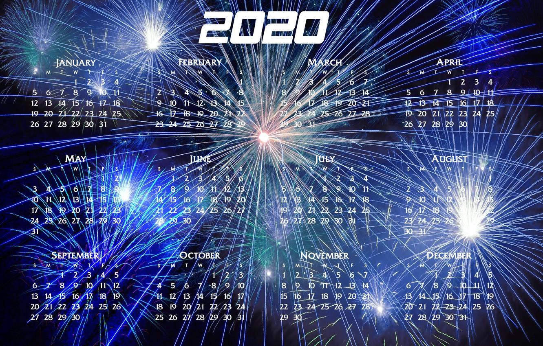 Фото обои Новый год, календарь, 2020